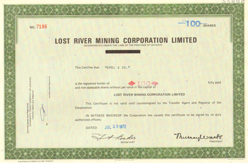 Lost River Mining > 1972 Ontario old stock certificate
