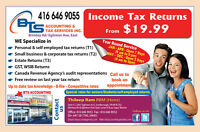 Income Tax ($19.99) &Bookkeeping ($99)  By Certified proadvisors