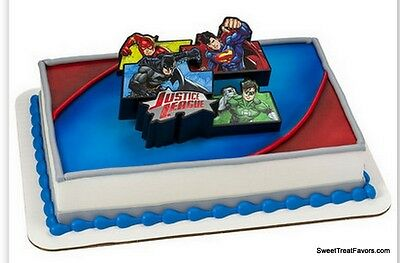 Justice League BIRTHDAY Party Supplies Cake Topper Cupcake Iron Man Superman NEW - Justice League Cake