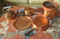 Various copper pots