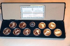 1988 .925 Silver Oympic 10 Coin set Mint with box and COA