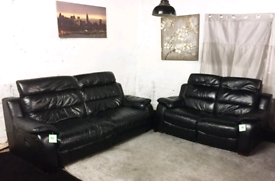 •• Real leather Black electric recliners 3+2 seater sofas