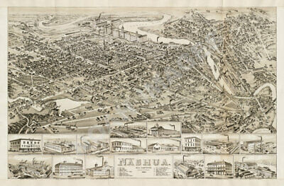 Map of Nashua New Hampshire c1875 24x36