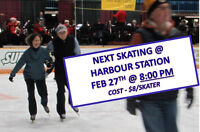 ADULT PUBLIC SKATING @ HARBOUR STATION MONDAY FEB 27 AT 8 PM