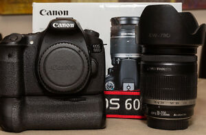 Canon E0S 60D Camera,18-200mm Lens, Canon BG-E9 Battery Grip