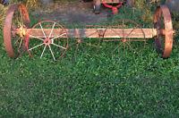 Old Cast Iron Spoke Wheels & Axle