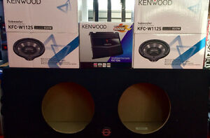 "NEW KENWOOD SUB SUBWOOFER BASS KIT 2X 12"" 800W CH+ BOX + AMP"