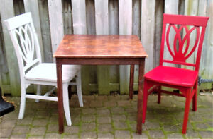 IKEA PINE WOOD TABLE AND PIER 1 WOOD CHAIRS