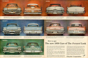 Large vintage 2-page color magazine ad for 1959 Chryslers
