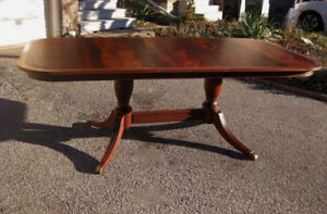 Stunning 12 P. Large Top End Restored Mahogany Table, Chairs