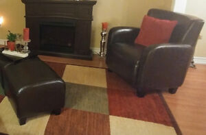 club chairs faux leather with ottoman