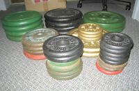 A lot of Cast Iron standard Weight Plates and 2 bars