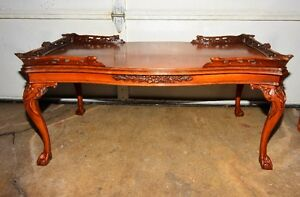 Antique Solid Mahogany Ball & Claw  Hand Carved Coffee Table