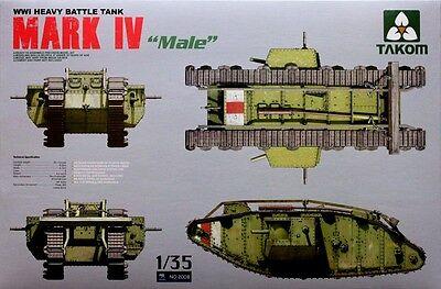 "Takom 1/35 #2008 WWI British MARK IV ""Male"" Heavy battle Tank"