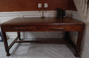 Antique Library Table with Center Drawers