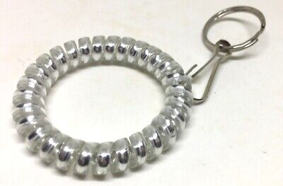 Silver Elastic Wrist Band Key Ring Chains,Colorful Spiral Stretchable 2