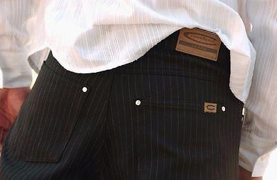 Men's Dancer Companeros Stretch Fabric Pants  Premium Black Stripe 5 Pocket - 5 Pocket Stretch Fabric