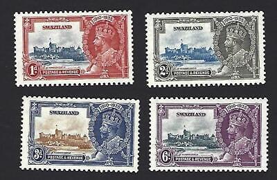 SWAZILAND 1935 GEORGE V SILVER JUBILEE SET OF 4 STAMPS. SG. 21 - 24, MNH