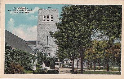 Postcard St Michael's + All Angels Church Anniston AL