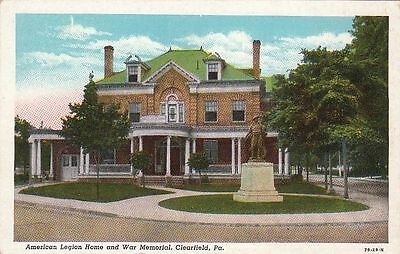 Postcard American Legion Home And War Memorial Clearfield Pa
