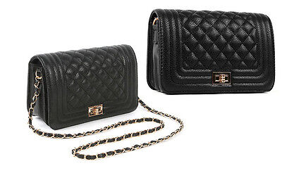 Quilted Full Flap Bag With Chain Black Purse Love Crossbody Handbag 06