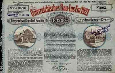 Österreichisches Bau Los Emission 1921 Wien 1200 Kronen Historische Wertpapiere