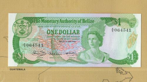Banknotes of World Belize 1980 1 Dollar P 38 UNC Prefix A/5