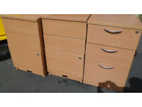 WE HAVE 6 x HEAVY LIGHT WOOD EFFECT 3 DRAW FILING CABINETS
