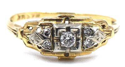Art Deco Diamond Engagement Ring - ANTIQUE ART DECO DIAMOND ENGAGEMENT RING WEDDING BAND 14K WHITE YELLOW GOLD