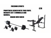 Profitness bench and leg curl with 70kg vinyl weights set brand new boxed