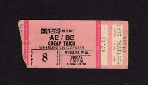 Original 1978 AC/DC Cheap Trick Concert Ticket Stub Wheeling WV Powerage Tour