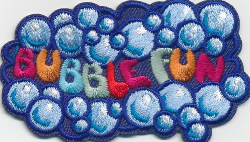 Boy Girl cub BUBBLE MAKING Bubbles popping Fun Patches Crests Badge GUIDE SCOUT