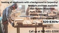 Carpentry - Various Positions Available! $16-22/hr!