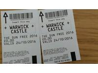 Tickets to Warwick castle
