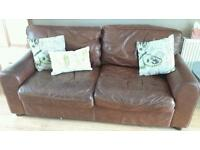 HALO House Of Fraser Brown Aniline Leather Sofa Vintage Tanned