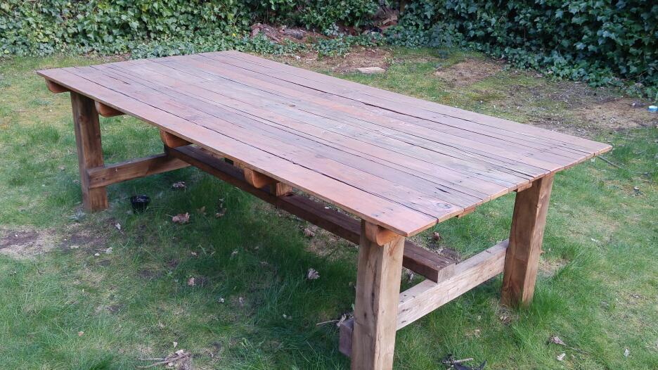 Handmade reclaimed wood garden table - Handmade Reclaimed Wood Garden Table In Lenton, Nottinghamshire