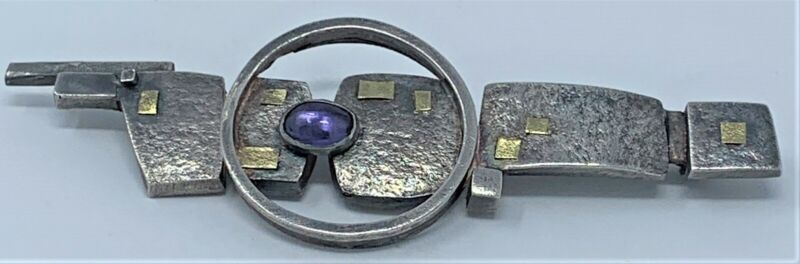 Vint. Anne Besse Shepherd Modernist Abstract Sterling Silver Gold Accents Brooch