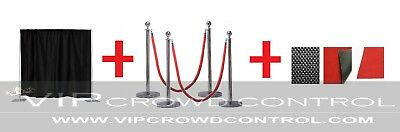 Photobooth Deluxe Combo Kit, Pipe & Drape, Rope Stanchions and Red - Red Carpet Ropes
