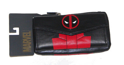 Deadpool ladies Zipper Leather Wallet with Metal logo BIOWORLD
