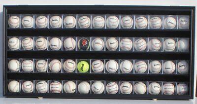 48 Baseball CUBE Display Case Wall Shadow Box Cabinet, UV Protect, Lock, -