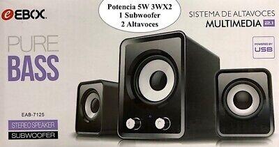 Altavoces Multimedia 2.1 5W 3Wx2 1 Subwoofer 2 altavoces Stereo