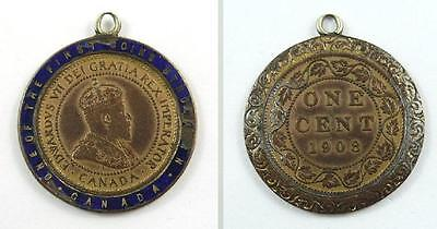 1908 Canada Enamel Encased Large Cent / One Cent Copper Coin - with Loop