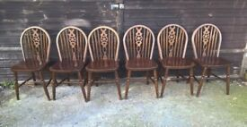 Six Vintage Dark Heavy Oak Wheel back Farmhouse Dining Chairs*DELIVERY POSS*(shabby chic pine beech)
