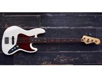 Fender Jazz Bass Guitar Mexican 4 String White J Bass Red