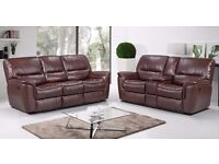 New Jersey 32 Bonded Leather Recliner Sofa with Drinks Holder