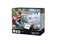 Nintendo wii U , 32 GB bakck console, pre installed Mario Kart 8 and New Mario Bros U disc.