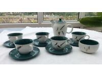 Denby coffee pot and cups and saucers.