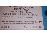 Shania Twain Platinum Tickets - Brimingham Arena, 24th September 2018