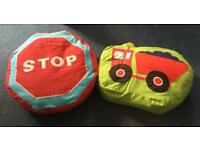 2x children's decorative bedroom pillows traffic theme. GOOD CONDITION Approx 16' inches round