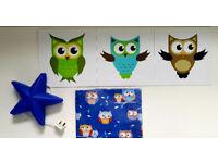 Baby Boy Girl Bedroom Bundle 3 Wall Owl Pictures Ikea Star Lamp Single